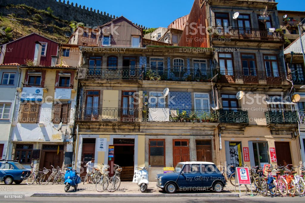 Bike and vintage car rental tourist shop in downtown Porto, Portugal stock photo