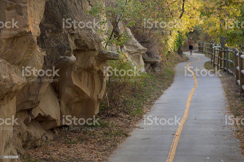 bike and walking trail stock photo
