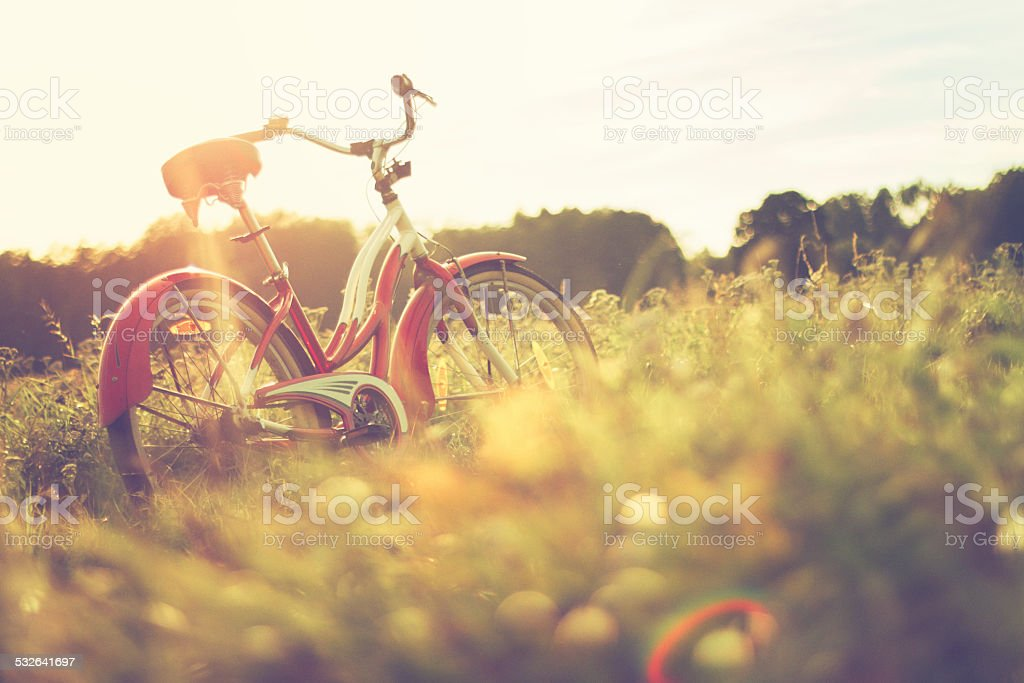 Bike at the summer meadow stock photo
