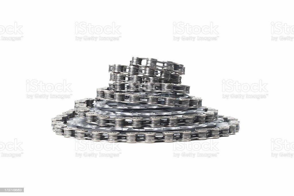 Bike chain and Cassette Spiral stock photo