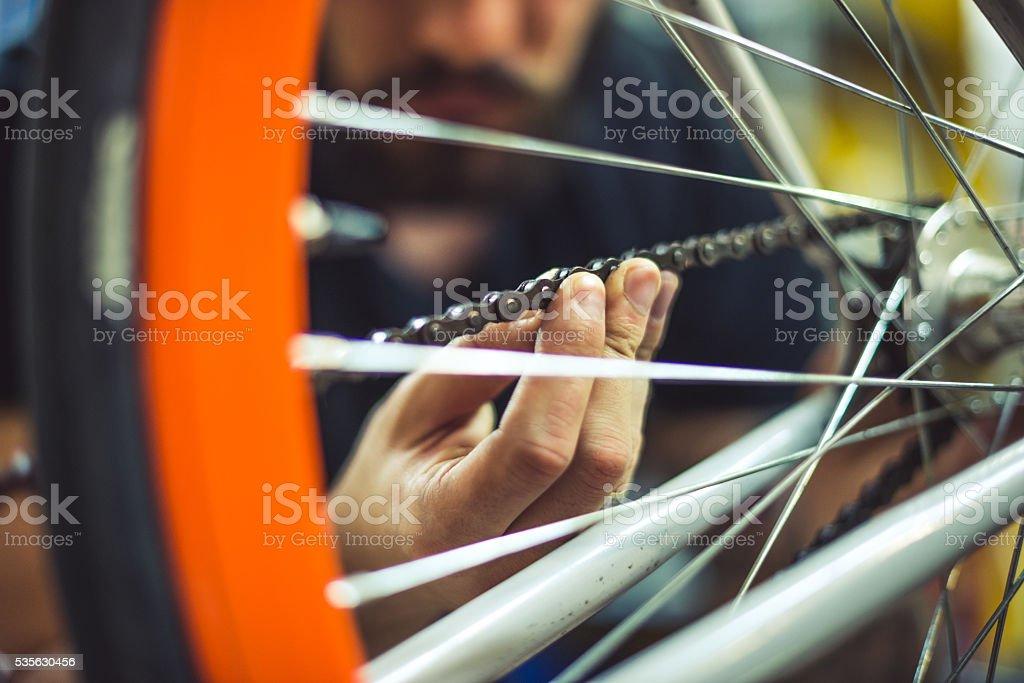 Bike chain cleaning stock photo