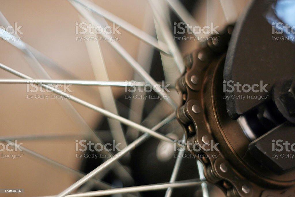Bike chain cogs and wheel - Shallow DOF stock photo
