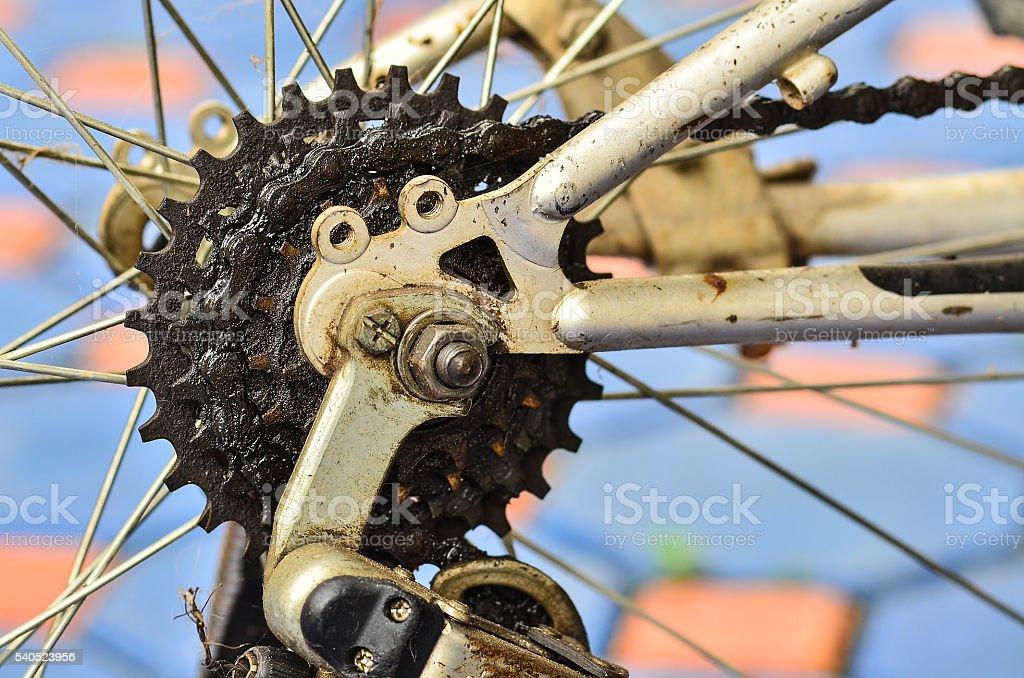 Bike chains in wheel stock photo