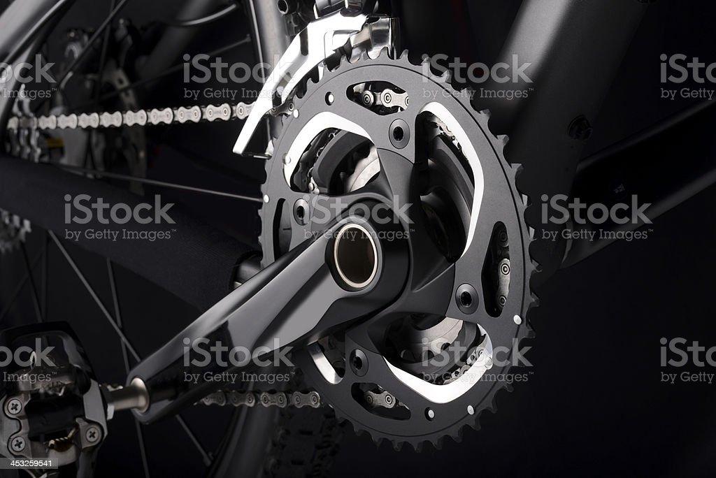 Bike chainset with chain on black background royalty-free stock photo
