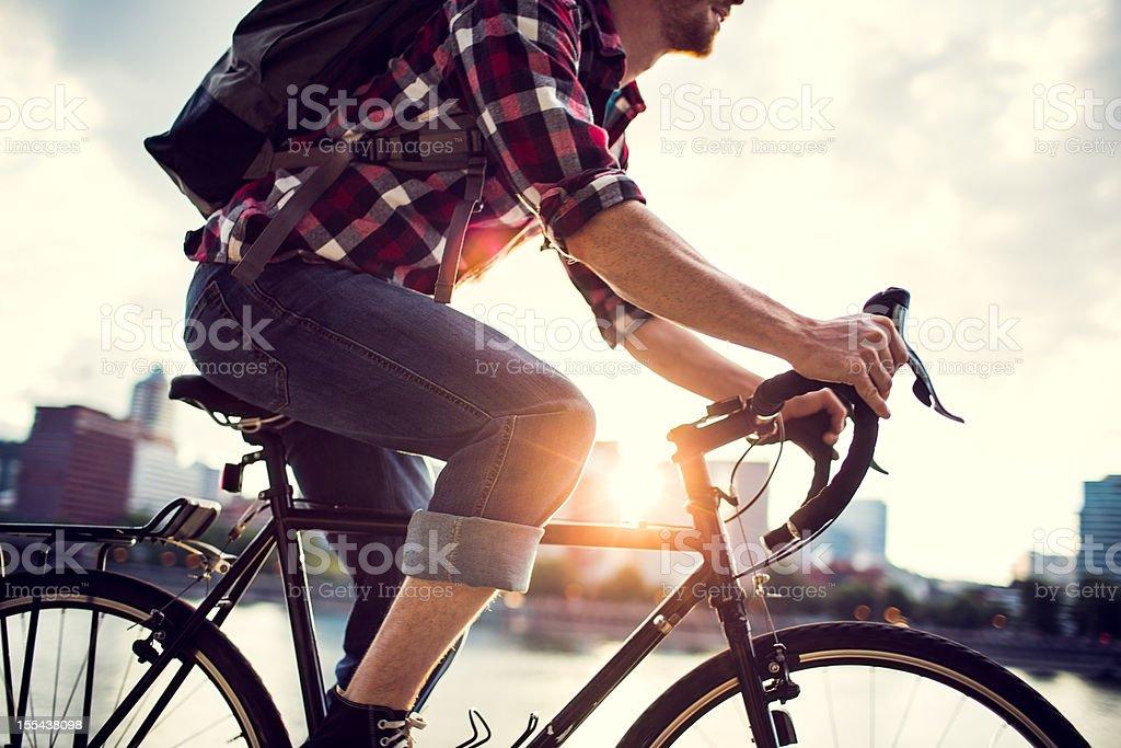 Bike Commuter in Portland Oregon royalty-free stock photo