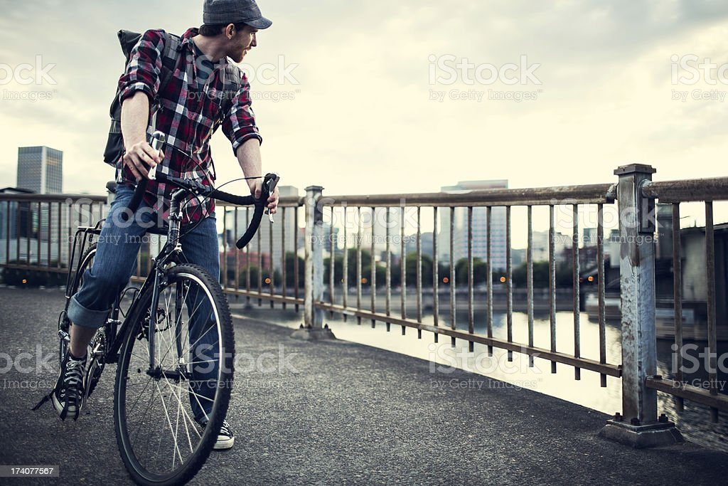 Bike Commuter in Portland Oregon royalty-free stock photo