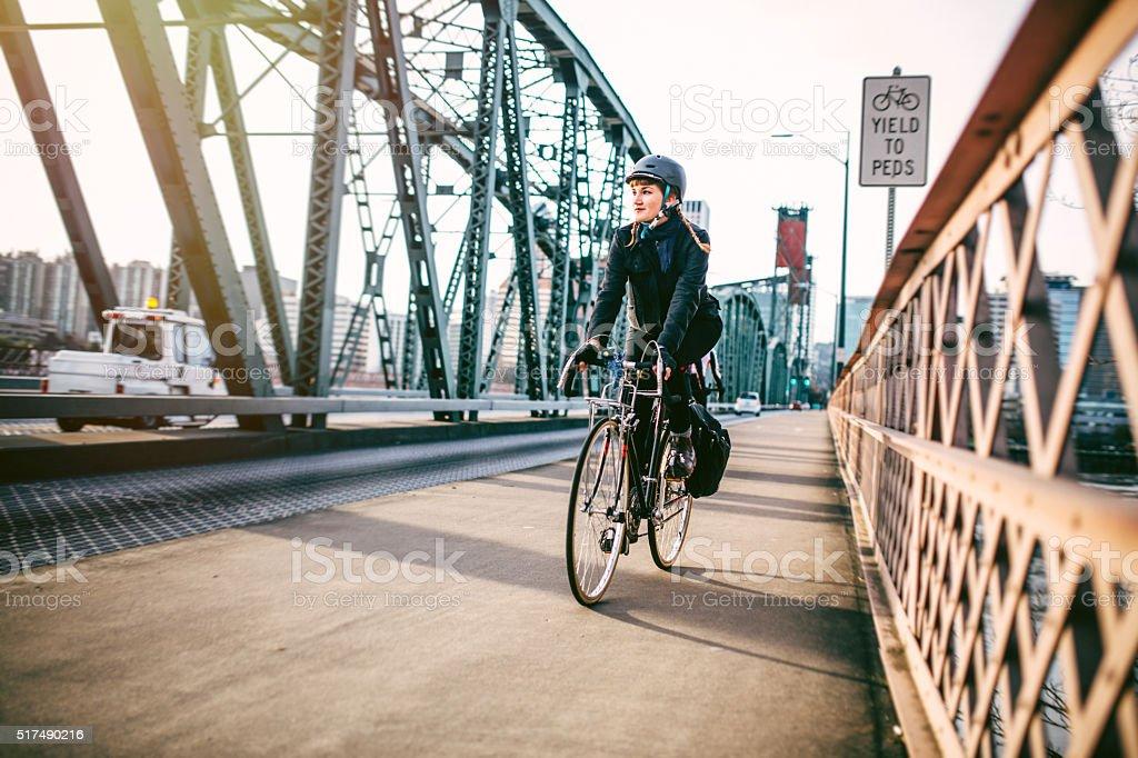 Bike Commuter in Portland Oregon stock photo