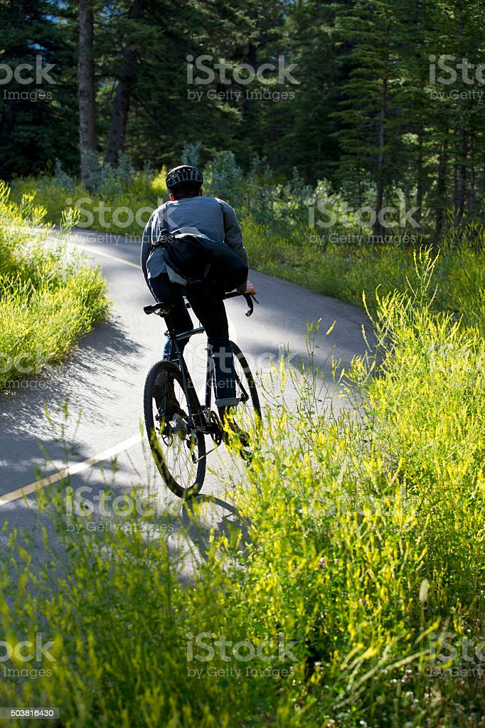 Bike Commuter Morning stock photo