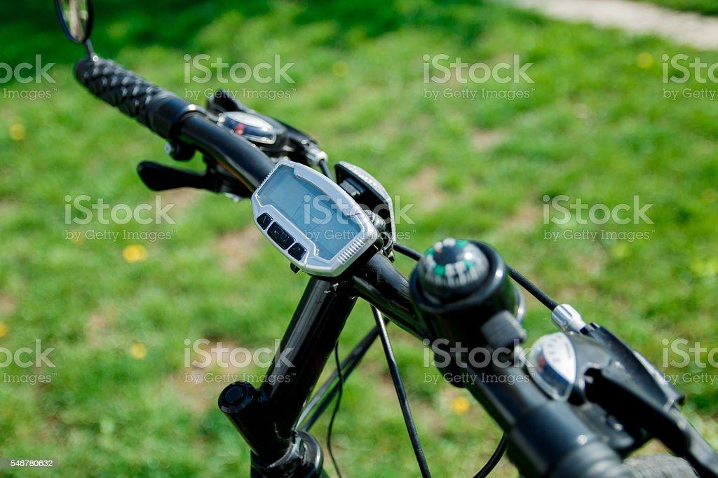 Bike computer on handlebar. stock photo