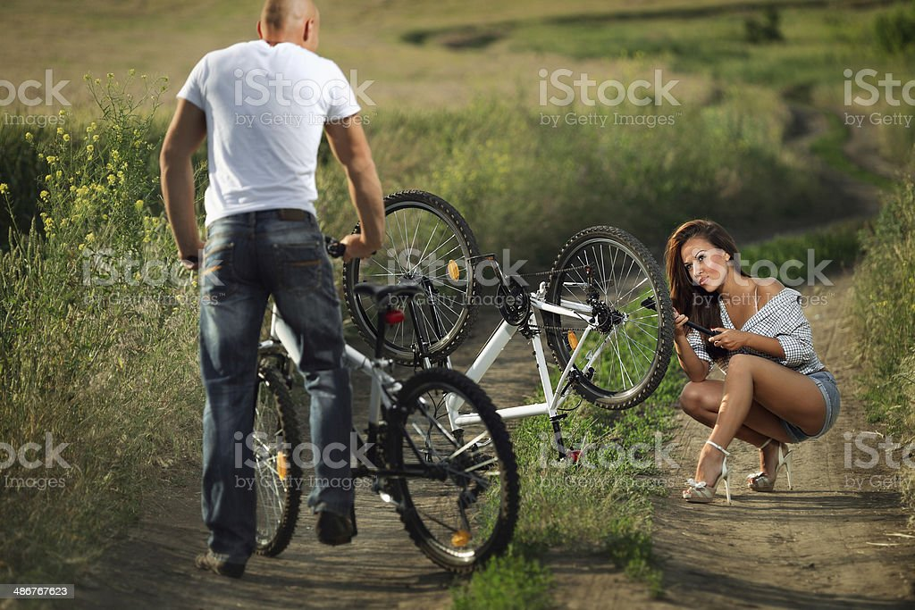 bike couple stock photo