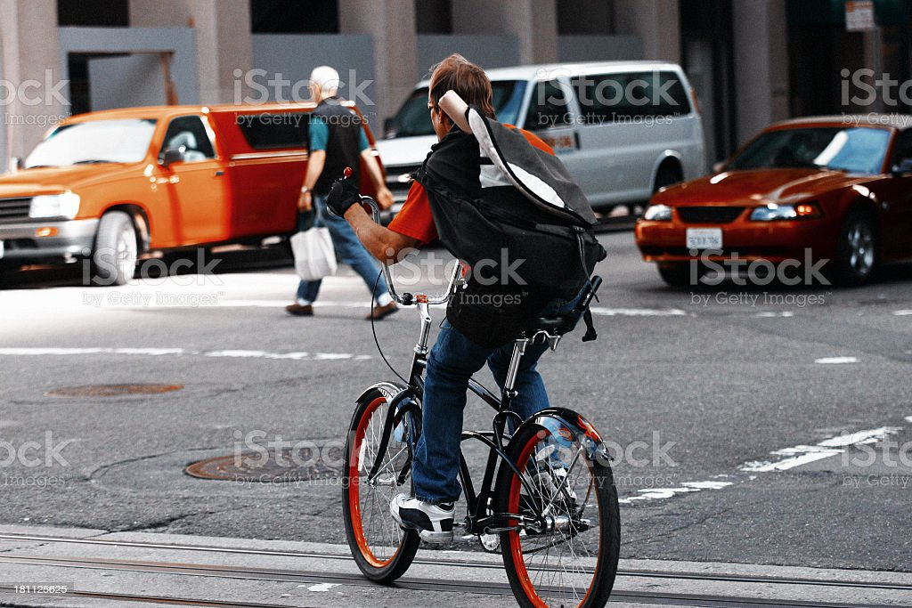 Bike Courier in San Francisco stock photo
