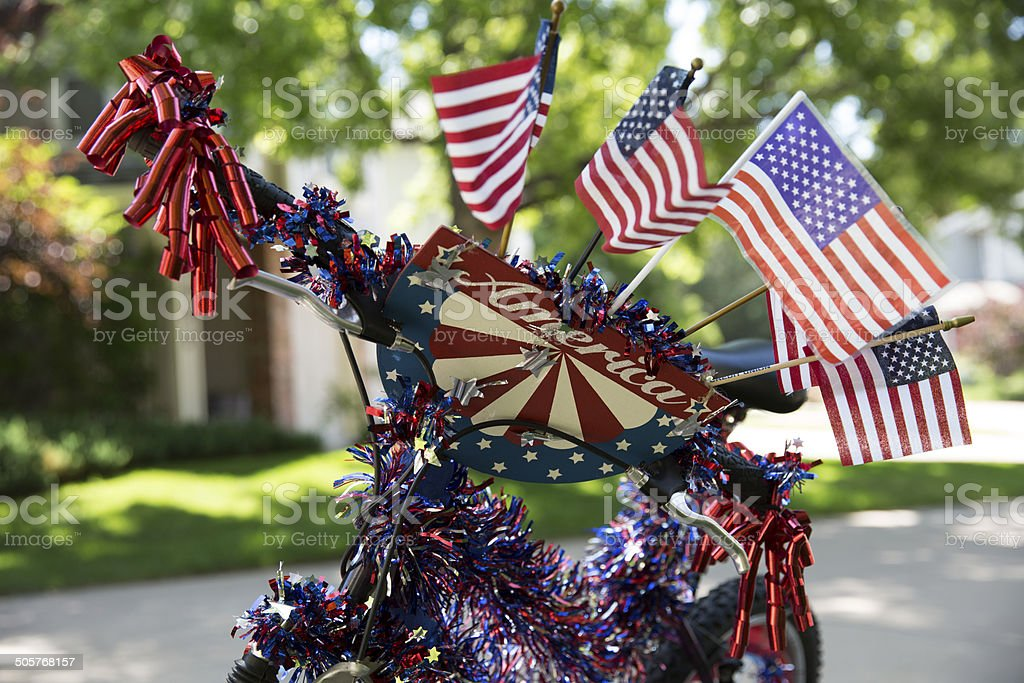 Bike decorated for July 4th parade stock photo