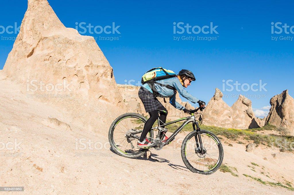 Bike Downhill Fun in Cappadocia, Turkey stock photo