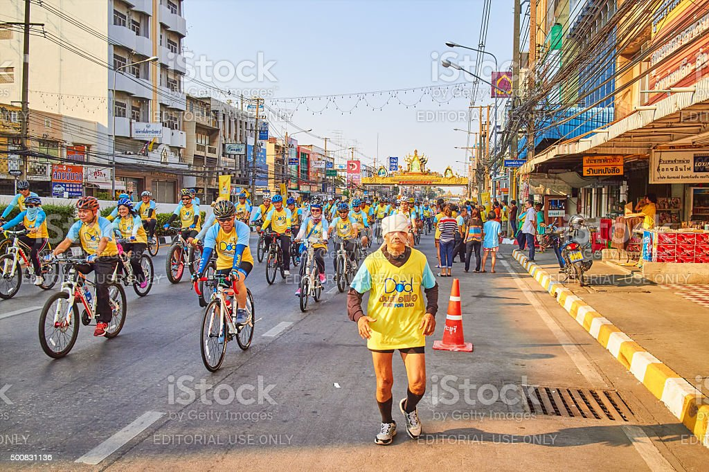 Bike For Dad Event, at Saraburi, Thailand. stock photo