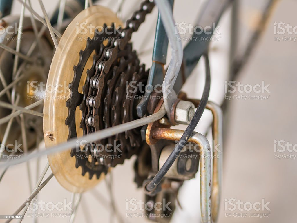 Bike gear and chain with rust. royalty-free stock photo