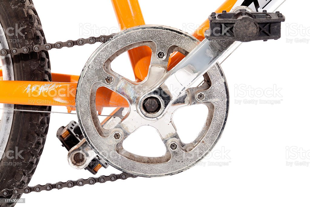 Bike gear wheel and pedal royalty-free stock photo