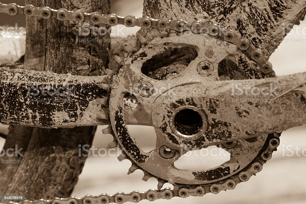Bike gears with chain (selective focus). Messy close up stock photo