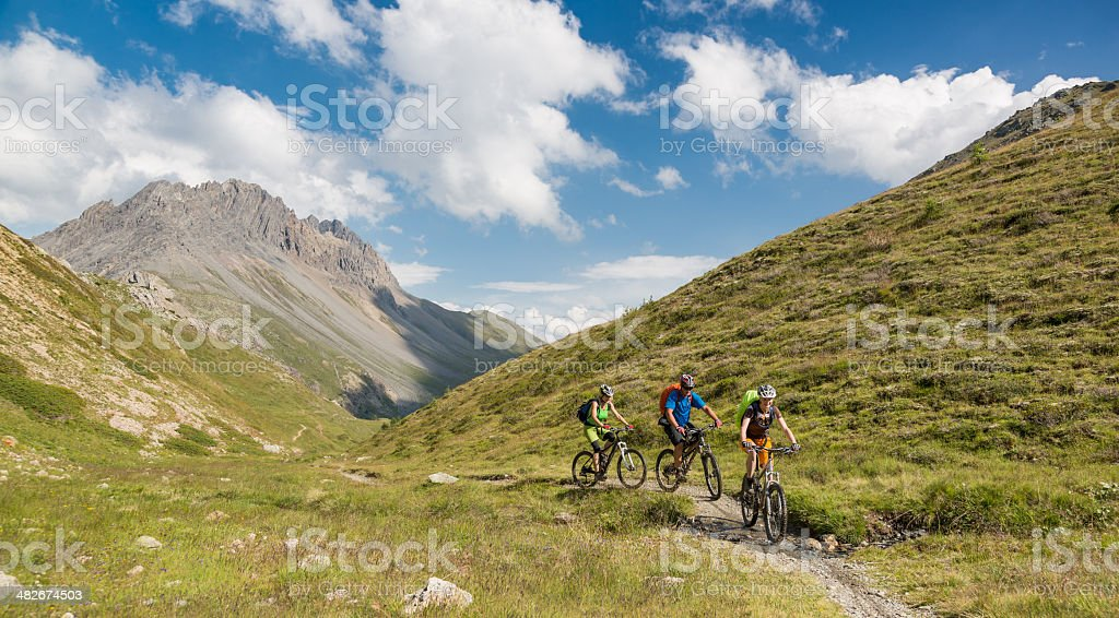 Bike group on singletrail, Italy royalty-free stock photo