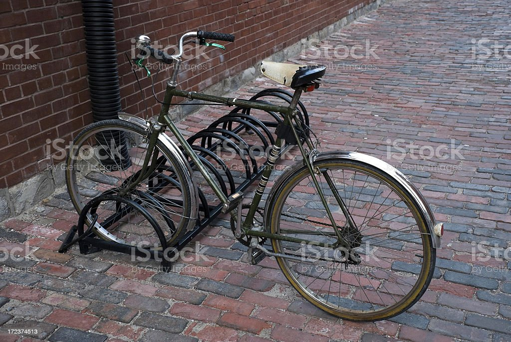 Bike in a bicycle rack royalty-free stock photo