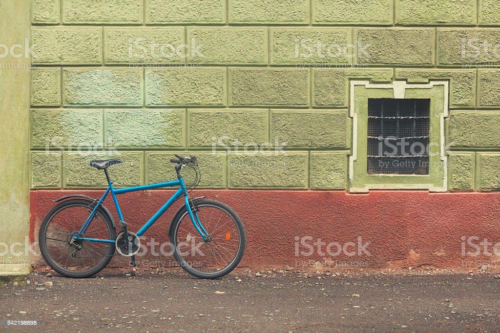 Bike in a city street stock photo