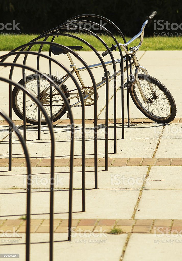 bike in bicycle rack royalty-free stock photo
