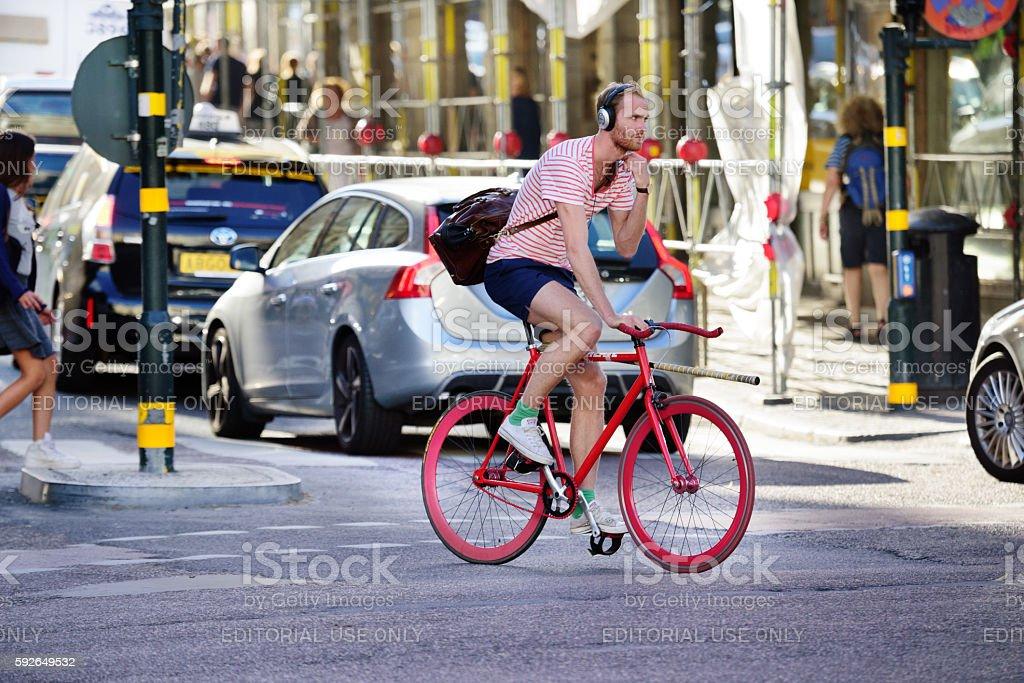 Bike in motion stock photo
