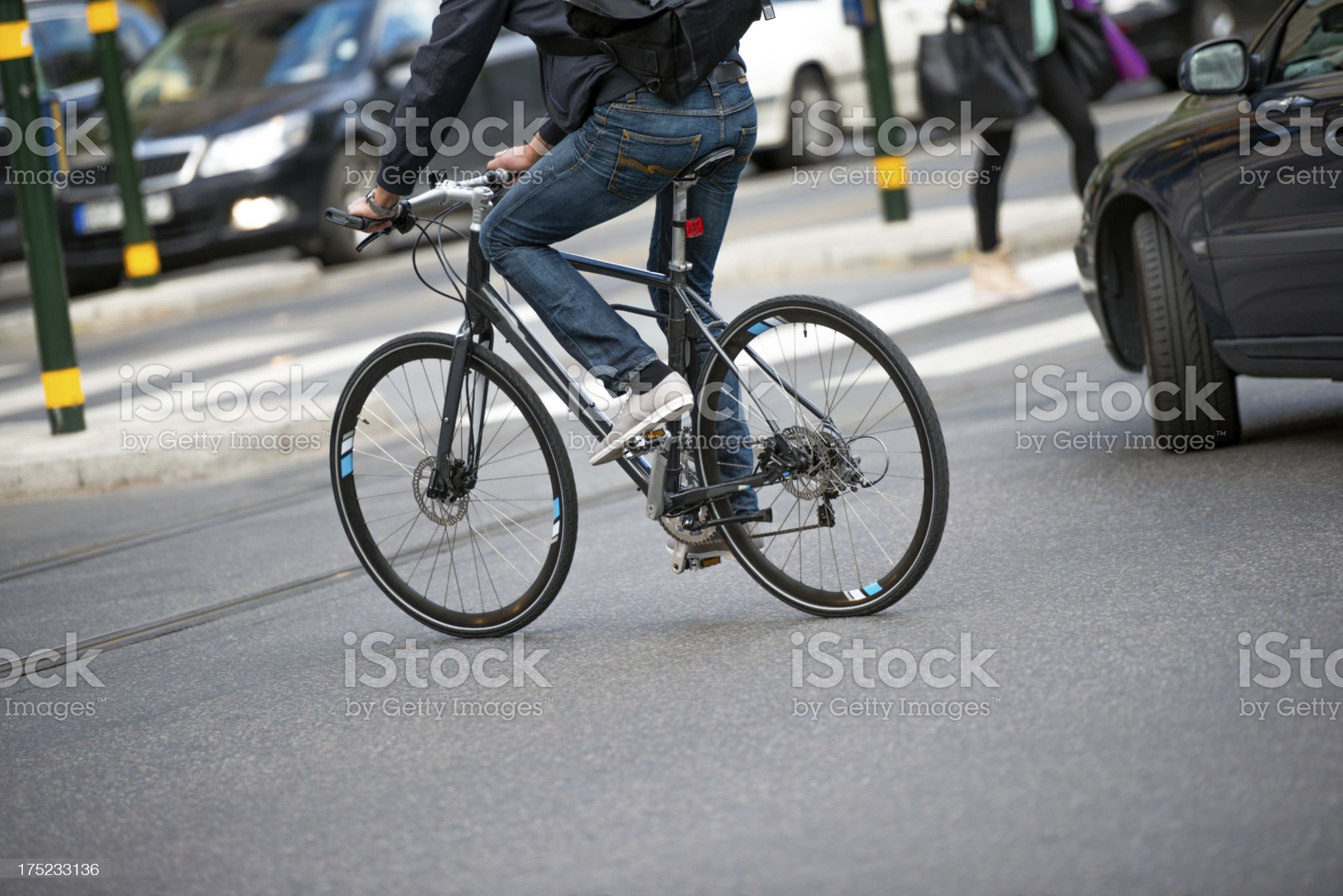 Bike in the city traffic royalty-free stock photo