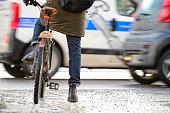 Bike in traffic, winter