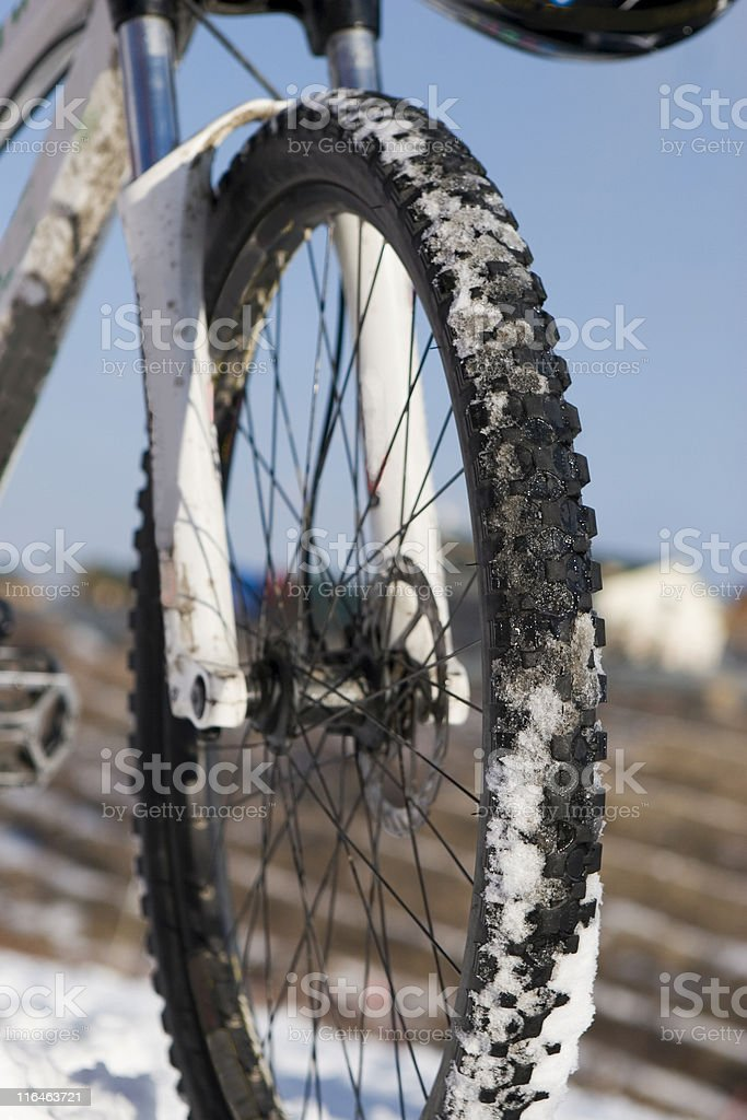 Bike in winter over blue sky royalty-free stock photo