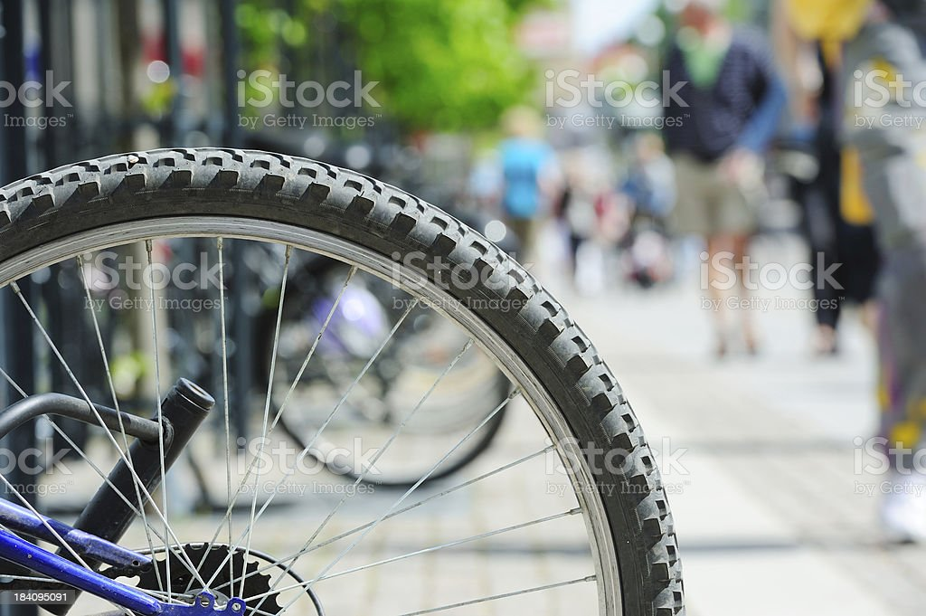 Bike lane and parked bikes in the city royalty-free stock photo