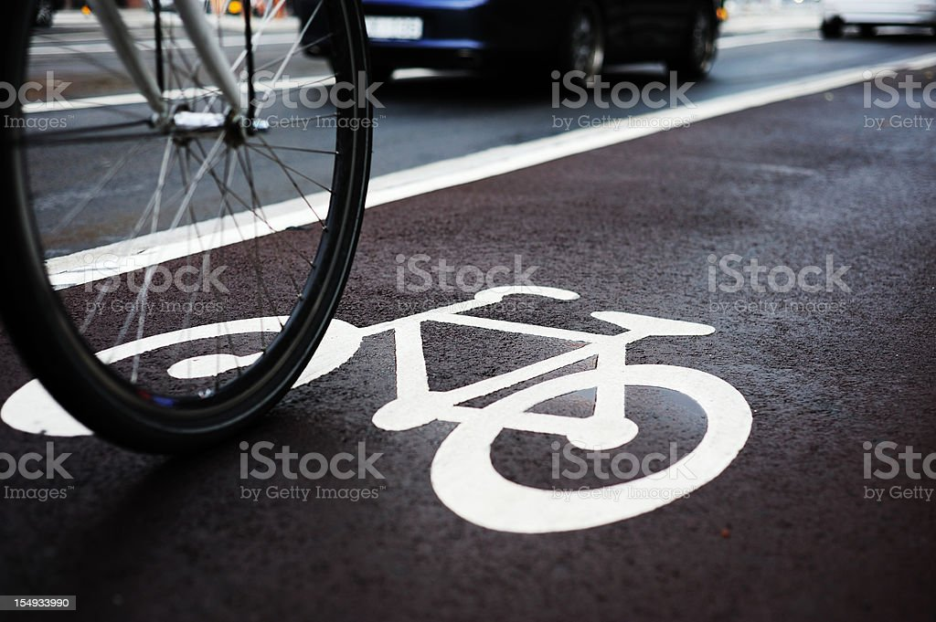 Bike lane and traffic royalty-free stock photo