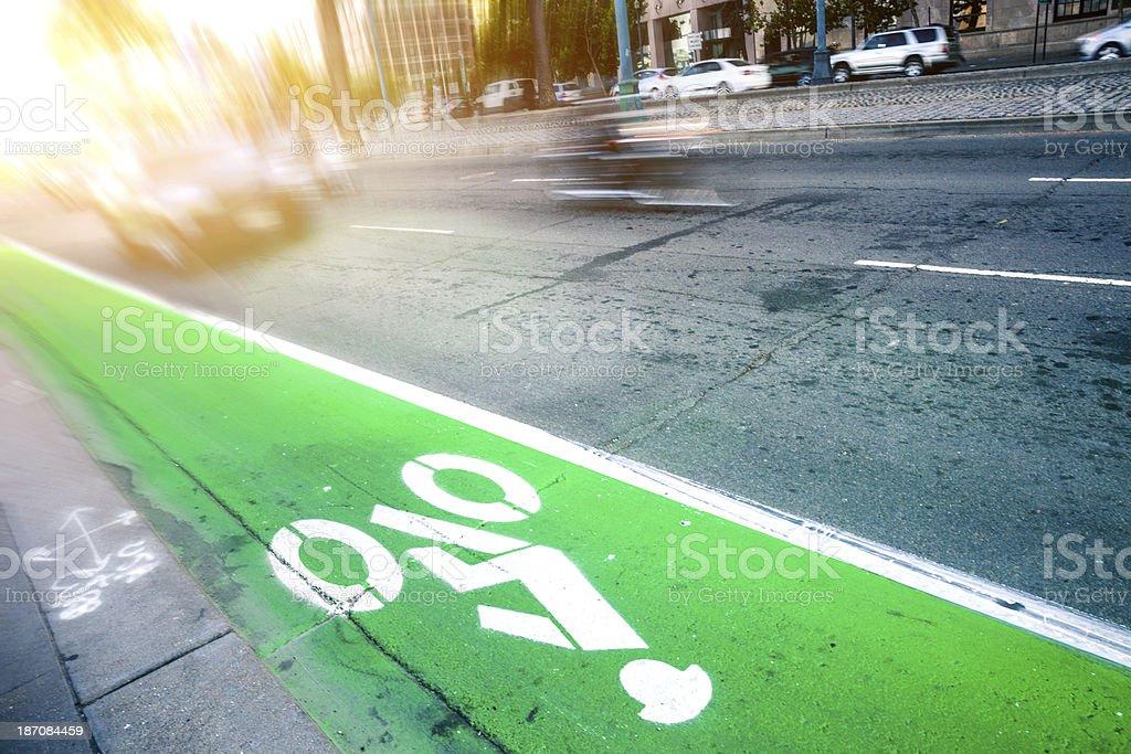Bike lane in San Francisco downtown royalty-free stock photo