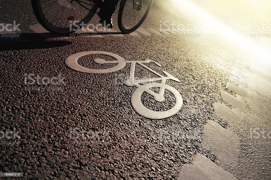 Bike lane in the evening stock photo