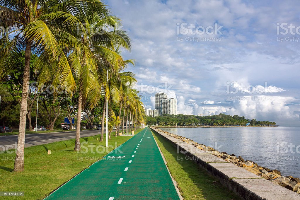 Bike lane or bicycle path on the coast stock photo