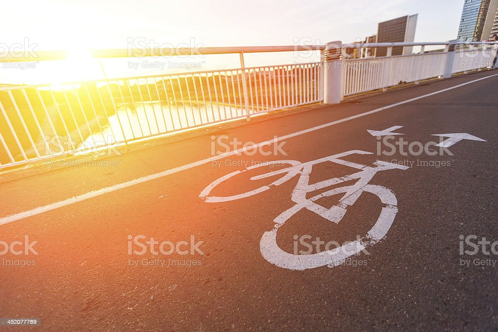 Bike Lane over the Bridge at Sunset royalty-free stock photo