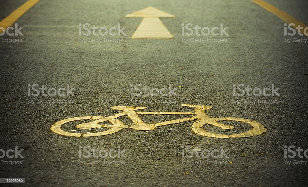 Bike lane, road for bicycles stock photo