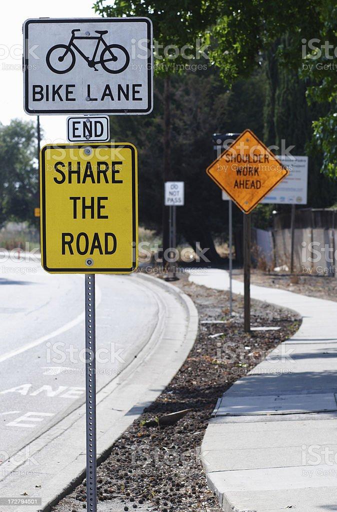 Bike lane - share the road royalty-free stock photo