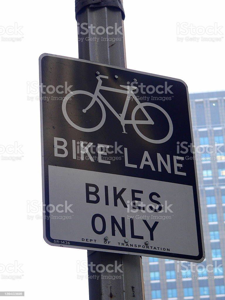 Bike Lane sign on a smoggy day royalty-free stock photo