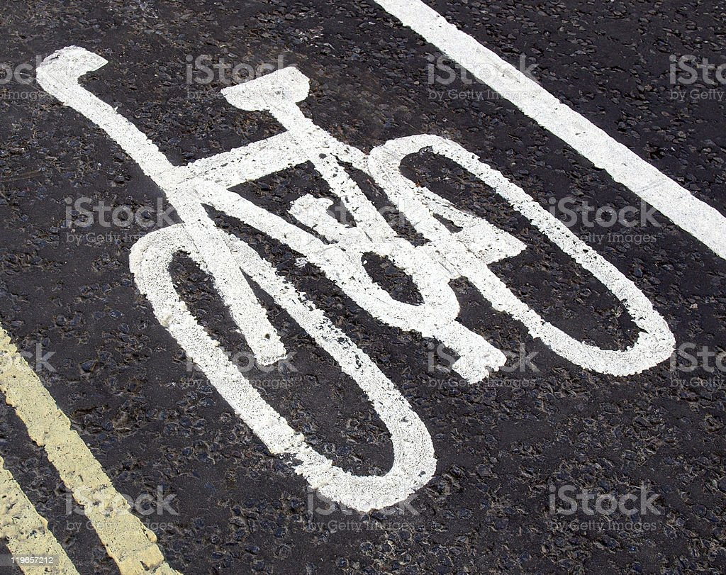 Bike lane sign royalty-free stock photo