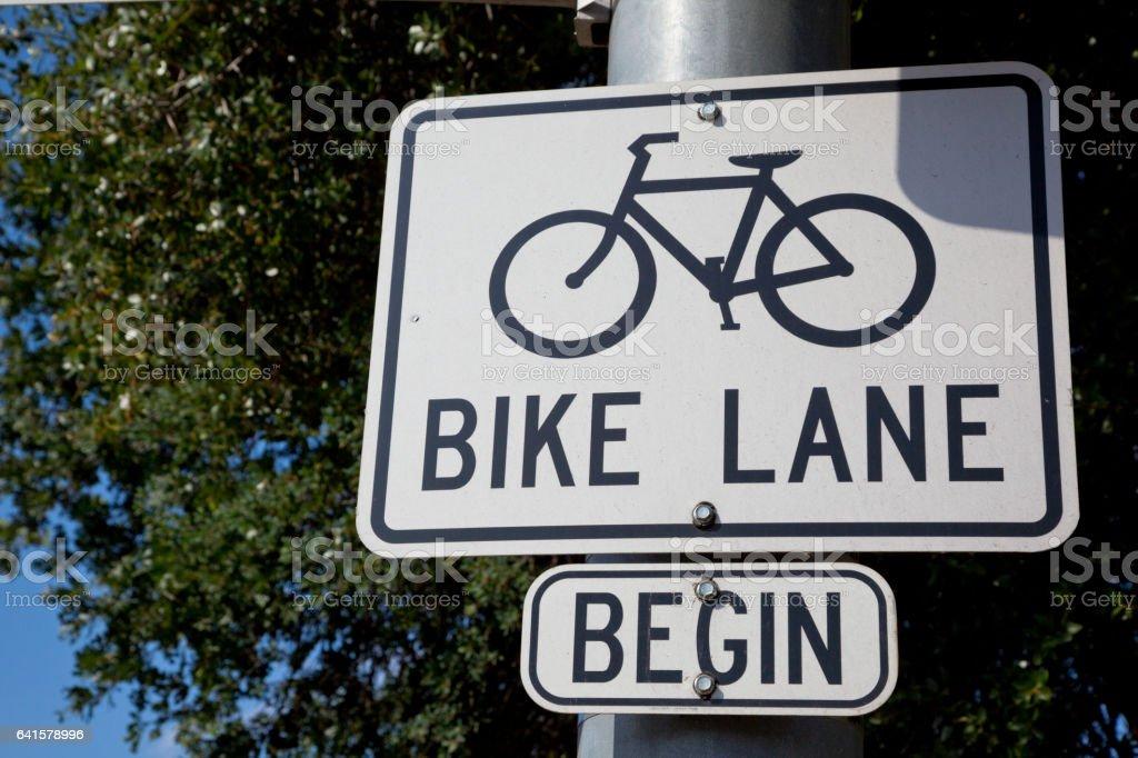 Bike Lane Sign stock photo