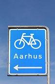 Bike lane sign to Aarhus city in Denmark