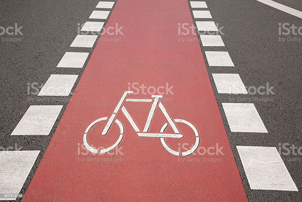 Bike Lane Symbol, Bonn stock photo