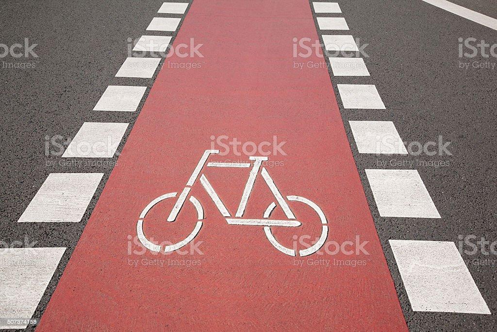 Bike Lane Symbol, Bonn stock photo