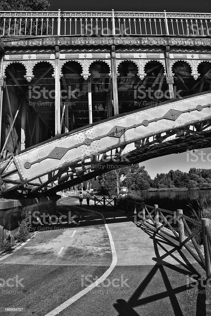 Bike lane under the Bridge stock photo