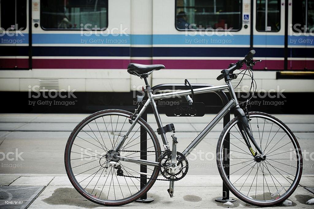 Bike left at tram station royalty-free stock photo