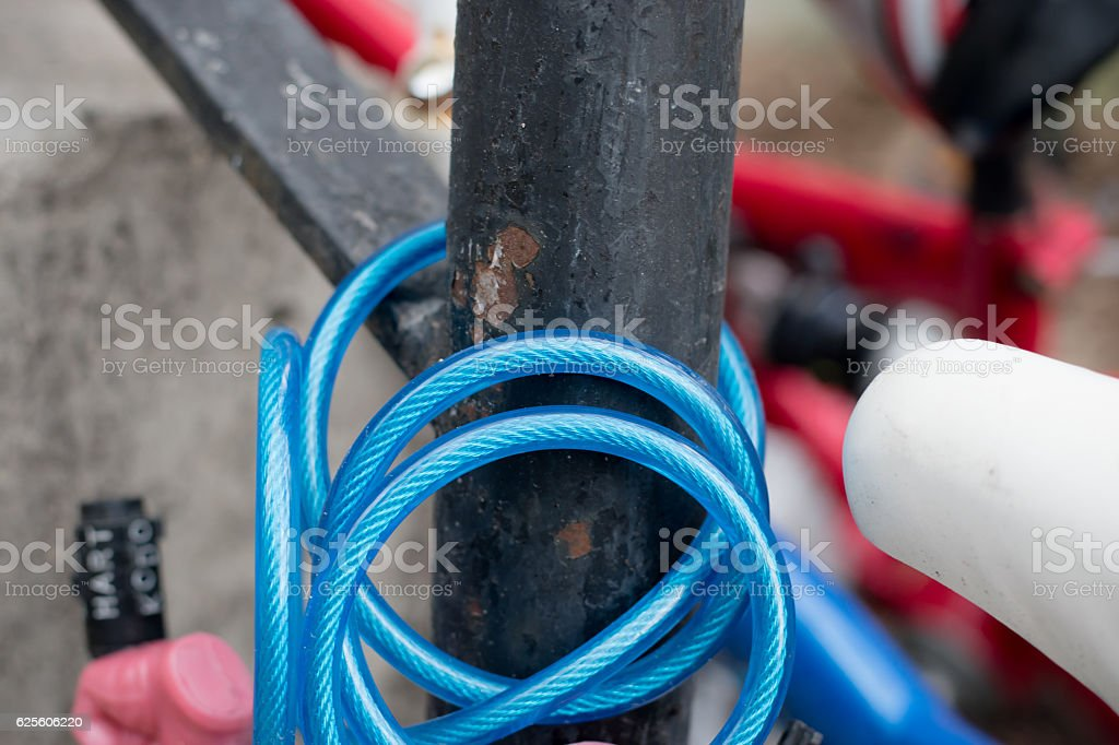 bike lock close up stock photo