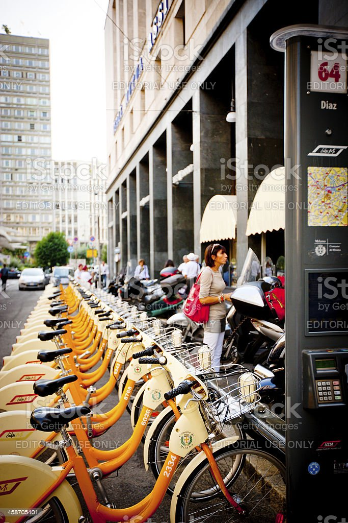 Bike Me Rental Station in Milan, Italy royalty-free stock photo
