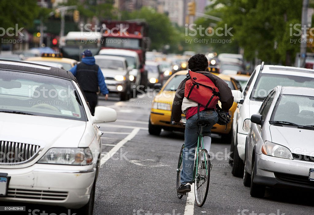 Bike Messenger in New York City stock photo