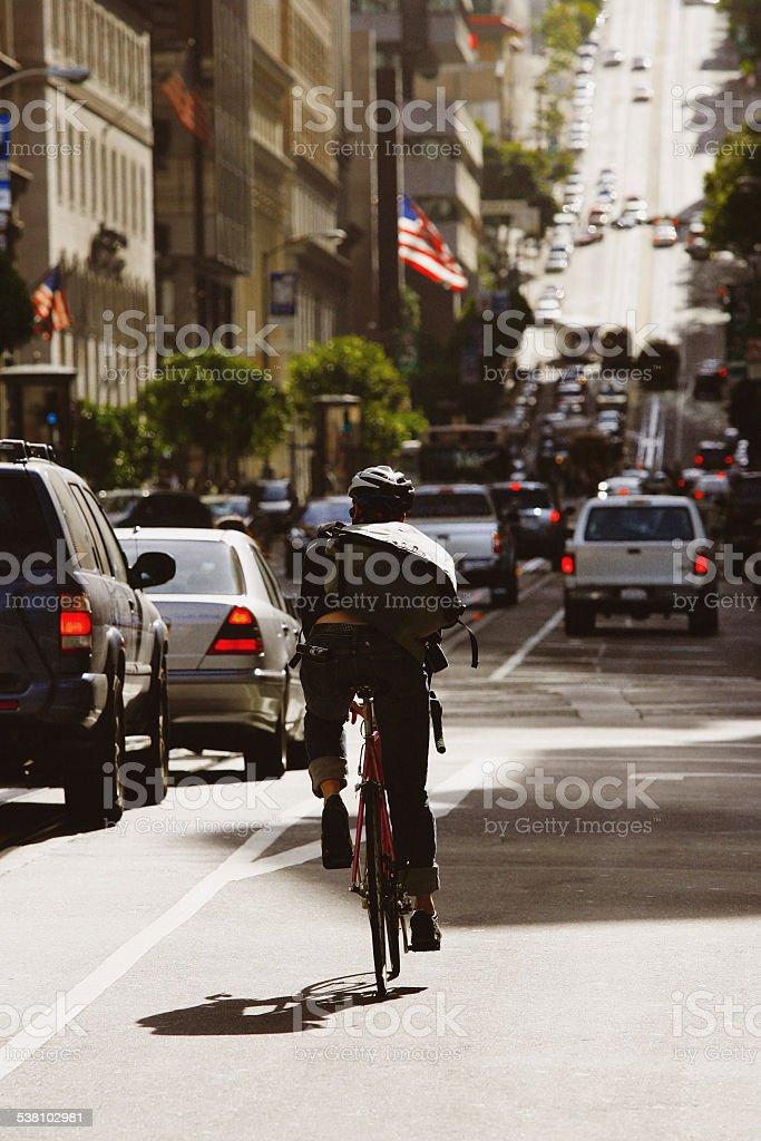 Bike Messenger in San Francisco stock photo