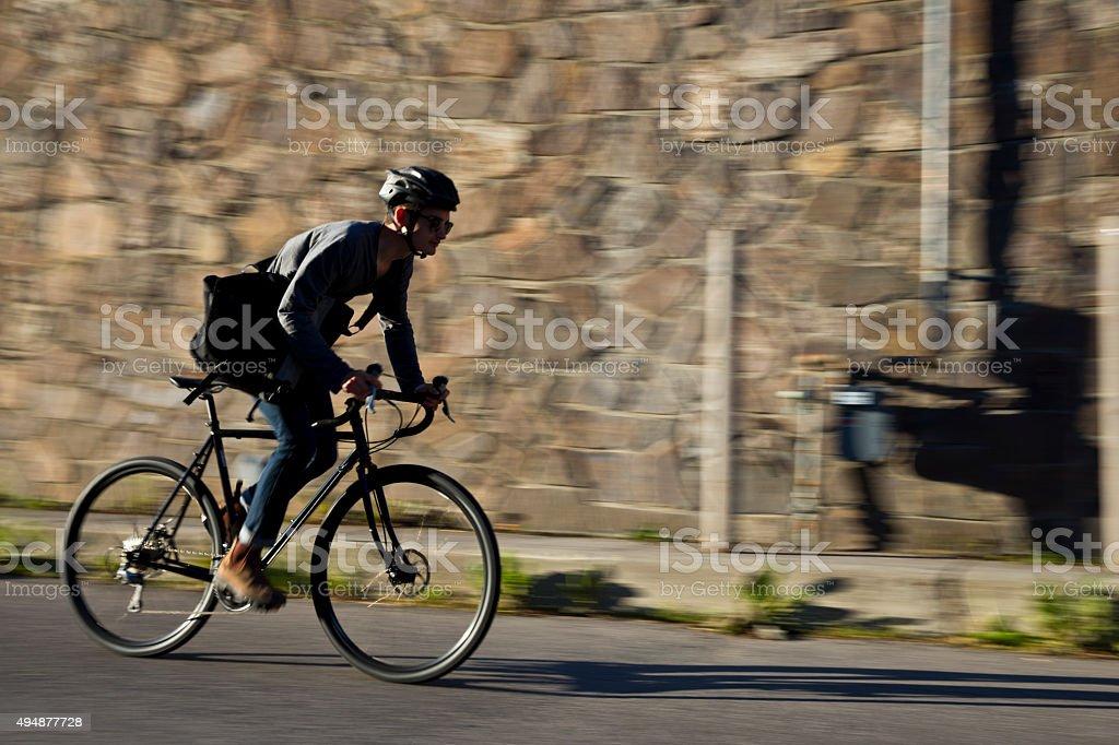 Bike Messenger Man stock photo